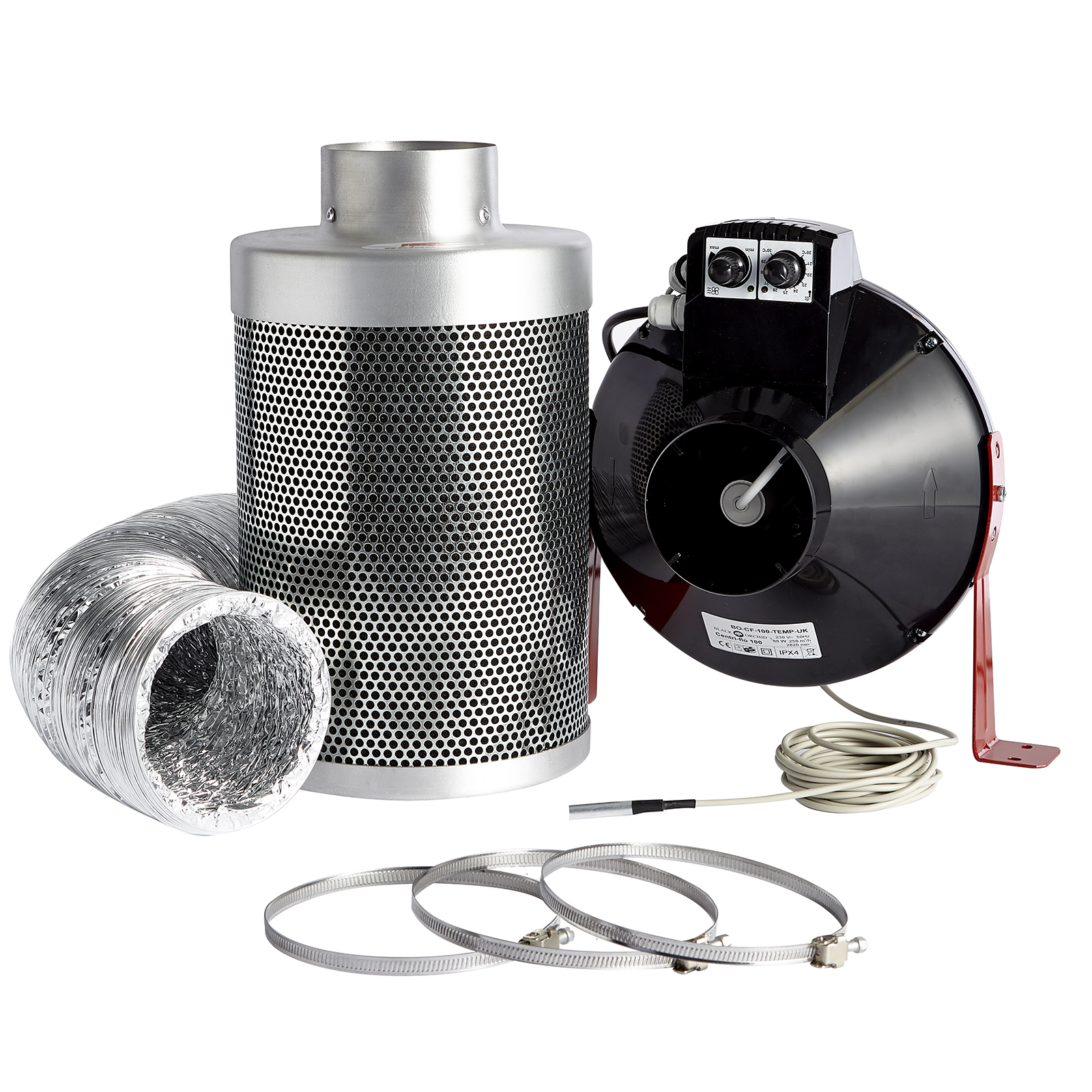 4inch  200mm Air Fan /& Filter Extraction Kit Hobby Carbon Filter Hydroponics